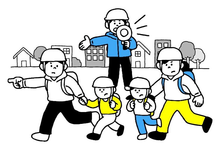 新潟県五泉市防災訓練のイラスト